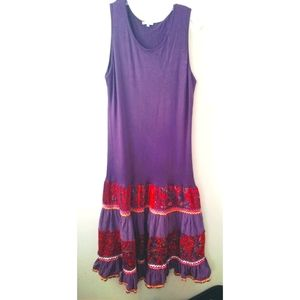Unique drop waist tank dress with ruffle skirt 1X